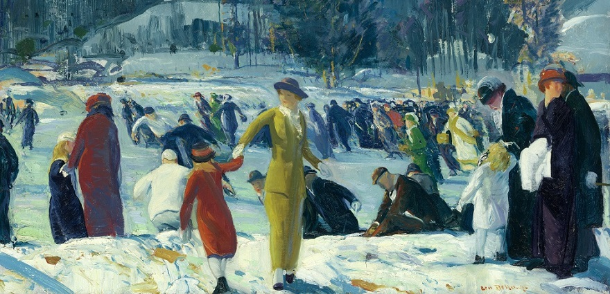 Les Plaisirs de l'hiver, George Bellows 1914 – Huile sur toile – 82 x 101 cm – Art Institute of Chicago.